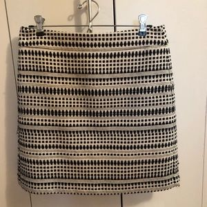 Loft Black and white woven mini skirt with lining
